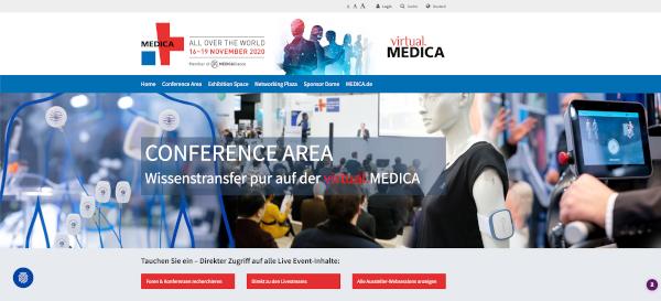 Der Konferenzbereich bei der virtuellen MEDICA (Quelle: dimedis)