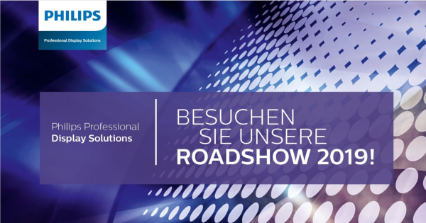 dimedis ist erstmals als Softwarepartner bei der Philips Roadshow 2019 in Deutschland dabei (Quelle: Philips Professional Display Solutions)