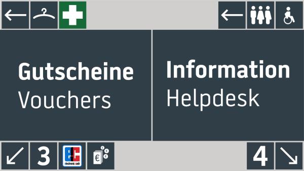 Messe Dortmund kommuniziert die wichtigsten Infos am Counter-Bereich und nutzt dafür den Split Screen Editor von kompas (Quelle: dimedis)